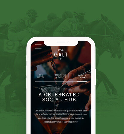 Green background of Kentucky Derby horses, with an iphone superimposed showing the Galt House web site