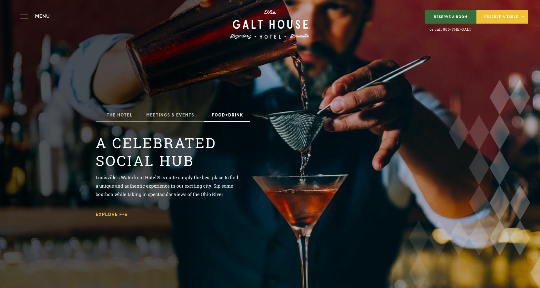 Header of the GaltHouse.com site, featuring a bartender pouring a drink through a strainer.