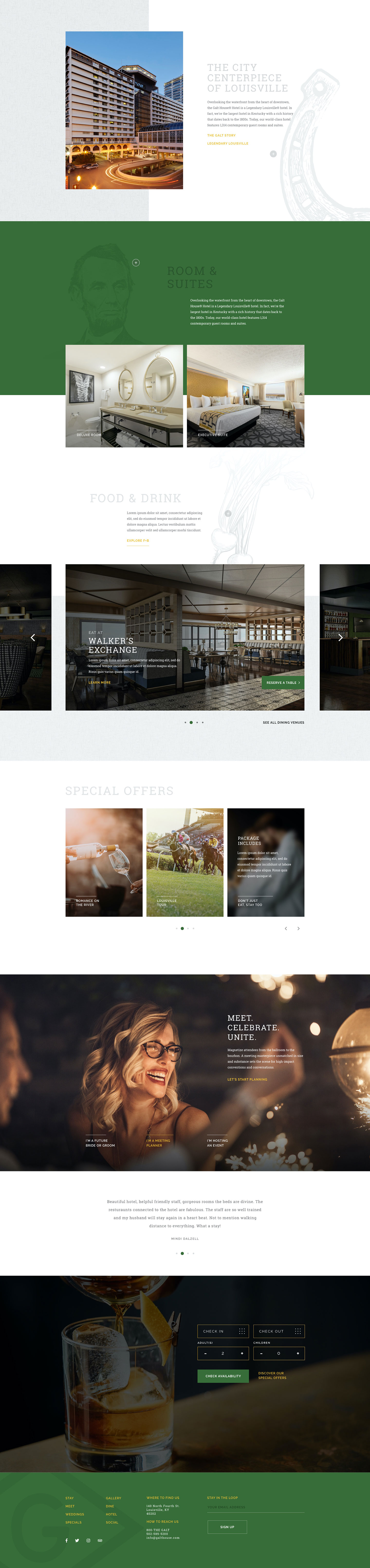 Full screen capture of Galt House home page