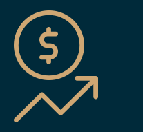 Dollar sign over a trend line icon