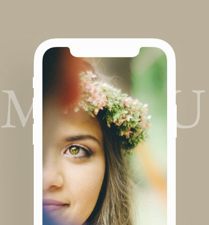 iPhone screen showing a bride's face over a background saying