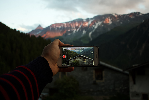Phone taking video of scenery