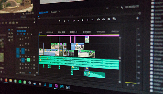 Computer screen showing video editing software