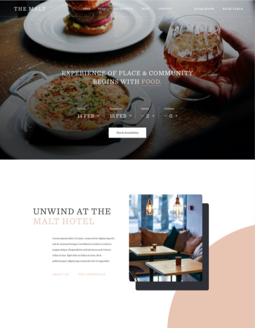 Screen capture of a restaurant web page