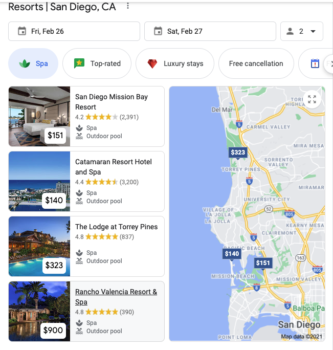 San Diego Hotels Map Pack Search Results