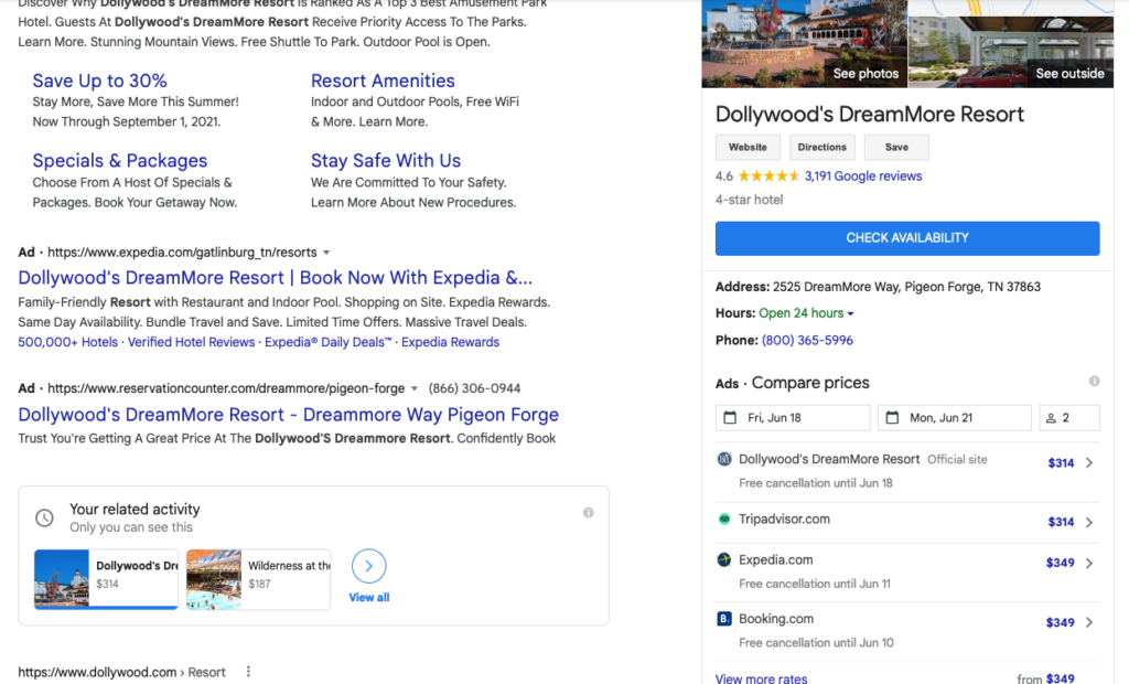 Google Hotel Ads appearing within a hotel's knowledge panel on the main search engine results page