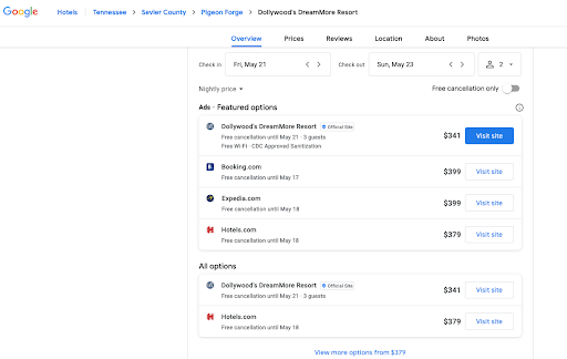 Google's new free hotel booking links