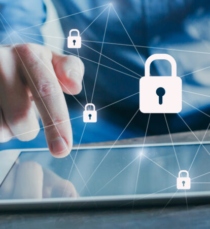 Data protection and cybersecurity, internet network with padlocks.