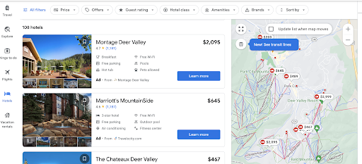 Screen shot showing Google Map results for home prices